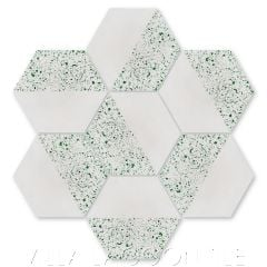 """""""Hex Fifty-Fifty Urban Gray and Green Glass Terrazzo"""" Geometric Hexagonal Cement Tile, from Villa Lagoon Tile."""