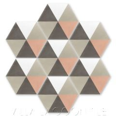 """Hex Pie Neapolitan"" Basic Geometric Hex Cement Tile, from Villa Lagoon Tile."