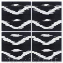 """Ikat A Black & White"" Modern Fabric-Style Cement Tile, from Villa Lagoon Tile."