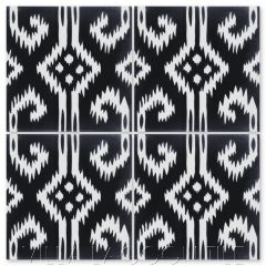"""Ikat D Black & White"" Modern Fabric-Style Cement Tile, from Villa Lagoon Tile."