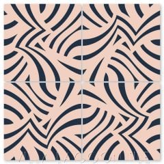 """""""Imagine Coral and Navy"""" Modern Striped Cement Tile by Neyland Design, from Villa Lagoon Tile."""