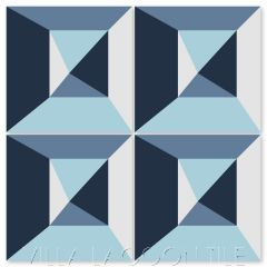 """In Box Blues"" Modern Geometric Cement Tile by Neyland Design, from Villa Lagoon Tile."