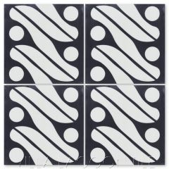 """Java Black & White"" Fabric-Style Cement Tile, by Villa Lagoon Tile."