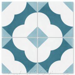 """Katie Velvet Sky"" Floral Cement Tile, from Villa Lagoon Tile."
