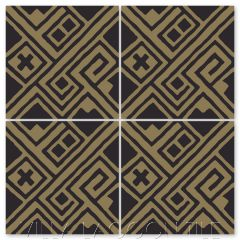 """Kuba Black and Bronze"" Modern Fabric-Style Cement Tile by Neyland Design, from Villa Lagoon Tile."