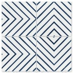 """Labyrinth Berry Blue"" Modern Geometric Cement Tile, from Villa Lagoon Tile."