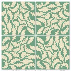 """Leaf Whipped Cream & Jade"" Whimsical Floral Cement Tile by Jeff Shelton, from Villa Lagoon Tile."