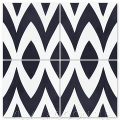 """""""Leaf Zag Black and White Evening"""" Modern Whimsical Cement Tile by Jeff Shelton, from Villa Lagoon Tile."""