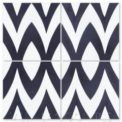 """Leaf Zag Black and White Morning"" Modern Whimsical Cement Tile by Jeff Shelton, from Villa Lagoon Tile."
