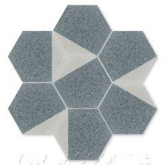 """Lefty Hex Dove and Cityscape Terrazzo"" Geometric Hexagonal Cement Tile, from Villa Lagoon Tile."