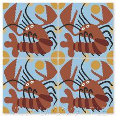 """""""Lobster on Celeste"""" Whimsical Wildlife Cement Tile by Jeff Shelton, from Villa Lagoon Tile."""