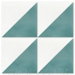 """Man Overboard Malibu & White"" Geometric Cement Tile, from Villa Lagoon Tile."