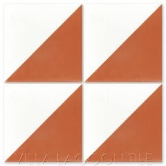 """Man Overboard Terracotta & White"" Geometric Cement Tile, from Villa Lagoon Tile."