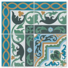 """Marinas Border"" Cuban Cement Tile with matching ""Habanero Jardin"", from Villa Lagoon Tile."