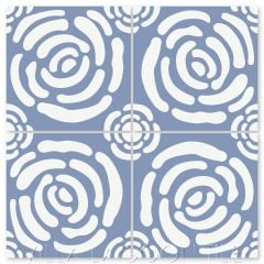"""Mattie's Rose Periwinkle & White"" Whimsical Floral Cement Tile by Jeff Shelton, from Villa Lagoon Tile."