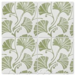 """Mossy Fan Vine"" Modern Floral Cement Tile, by Villa Lagoon Tile."