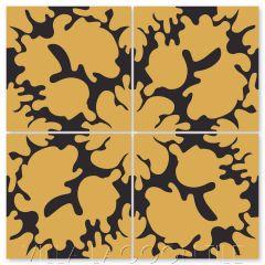 """Oil Spots Maple Sugar & Black"" Modern Whimsical Cement Tile by Jeff Shelton, from Villa Lagoon Tile."