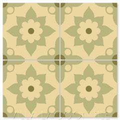 """Omar Sharif B Lichen"" Floral Cement Tile, from Villa Lagoon Tile."