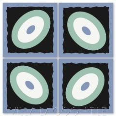 """Palm Park Ellipse in Sea Glass & Periwinkle"" Modern Whimsical Cement Tile by Jeff Shelton, from Villa Lagoon Tile."