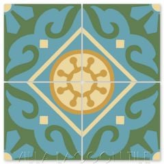"""Piedmont Brilliant Sea"" Traditional Cement Tile, from Villa Lagoon Tile."