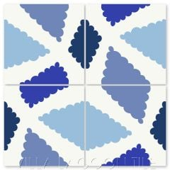 """""""Pies in Blue"""" Modern Whimsical Cement Tile by Jeff Shelton, from Villa Lagoon Tile."""