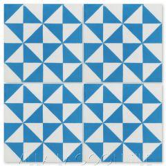"""Pinwheel B Blue"" Geometric Cement Tile, from Villa Lagoon Tile."