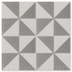 """Pinwheel Grande A Featherstone and White"" Geometric Cement Tile, from Villa Lagoon Tile."