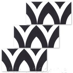"""""""Pointed Arch Riser in Black and White"""" Modern Whimsical Cement Tile by Jeff Shelton, from Villa Lagoon Tile."""