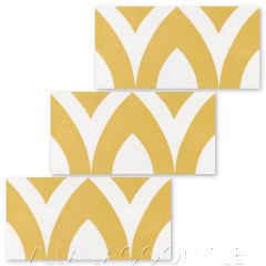 """""""Pointed Arch Riser in Maple Sugar and White"""" Modern Whimsical Cement Tile by Jeff Shelton, from Villa Lagoon Tile."""