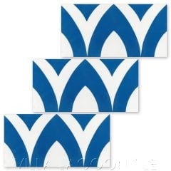 """""""Pointed Arch Riser in Persian Blue and White"""" Modern Whimsical Cement Tile by Jeff Shelton, from Villa Lagoon Tile."""