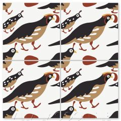 """Quail in Spiced Chai"" Whimsical Wildlife Cement Tile by Jeff Shelton, from Villa Lagoon Tile."