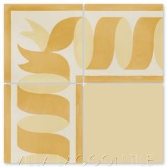 """Ribbon Border Gold"" Traditional Cement Tile, by Villa Lagoon Tile."