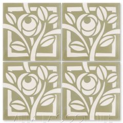 """Rosetta Dry Sage"" Modern Floral Cement Tile by Neyland Design, from Villa Lagoon Tile."
