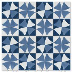 """Rotunda Blue"" Geometric Cement Tile, from Villa Lagoon Tile."