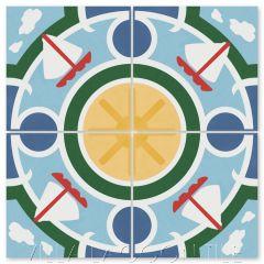 """Sailboat Sunny Day"" Coastal Cement Tile, by Villa Lagoon Tile."