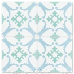 """San Antonio Nassau"" Traditional Floral Cement Tile, from Villa Lagoon Tile."