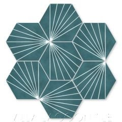 """Spark C Aegean"" Geometric Hex Cement Tile, from Villa Lagoon Tile."