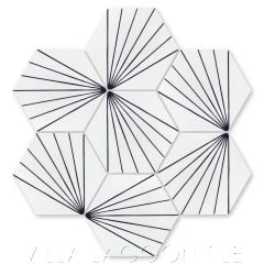 """Spark C Black and White Morning"" Geometric Hex Cement Tile, from Villa Lagoon Tile."