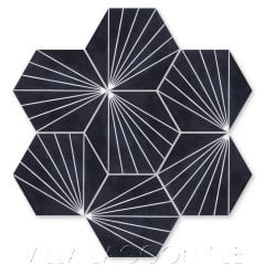 """Spark C Black and White Evening"" Geometric Hex Cement Tile, from Villa Lagoon Tile."