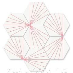 """Spark C Blush"" Geometric Hex Cement Tile, from Villa Lagoon Tile."