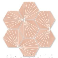 """Spark C Coral"" Geometric Hex Cement Tile, from Villa Lagoon Tile."