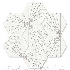 """Spark C Grigio"" Geometric Hex Cement Tile, from Villa Lagoon Tile."