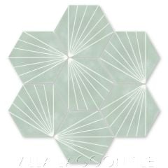 """Spark C May"" Geometric Hex Cement Tile, from Villa Lagoon Tile."