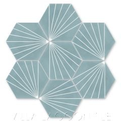"""Spark C Stone Blue"" Geometric Hex Cement Tile, from Villa Lagoon Tile."