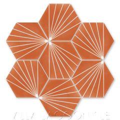 """Spark C Tangerine"" Geometric Hex Cement Tile, from Villa Lagoon Tile."