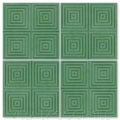 """Square Wave"" Geometric Relief Cement Tile in ""Monte Verde"" green, by Villa Lagoon Tile."