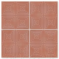 """Square Wave"" Geometric Relief Cement Tile in ""Terracotta"", by Villa Lagoon Tile."