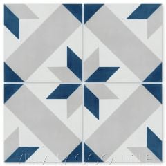 """Star Lattice Nautique"" Traditional Geometric Cement Tile, from Villa Lagoon Tile."