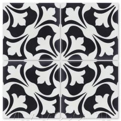 """Swan Black and White"" Classic French Cement Tile, from Villa Lagoon Tile."