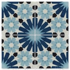 """Tangier Blues"" Moroccan Cement Tile, from Villa Lagoon Tile."